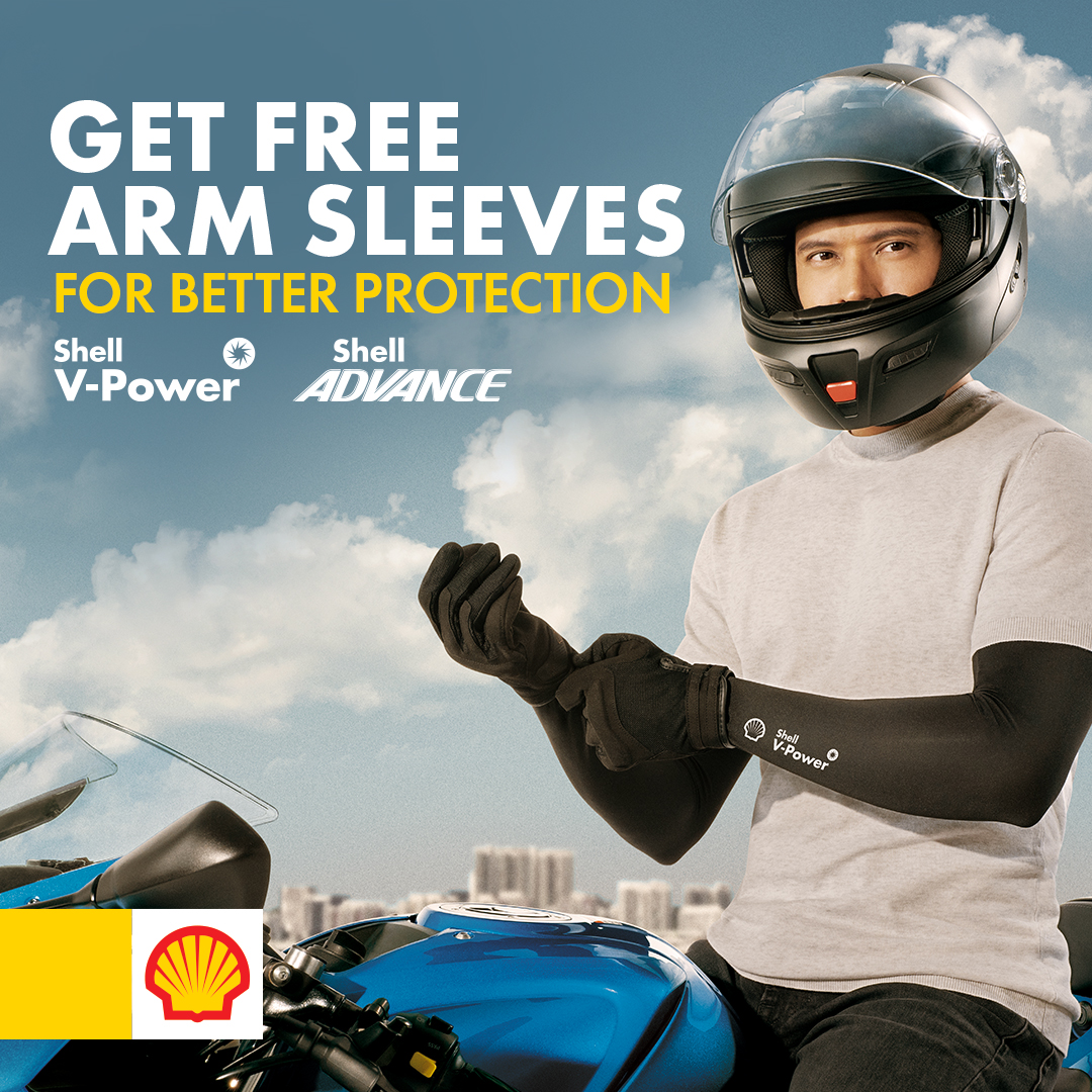 Get Free Arm Sleeves for every purchase of Shell V Power and Shell Advance